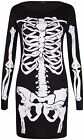 Womens Haloween Bones Skeleton Print Ladies Long Sleeve Bodycon Dress Tunic Top