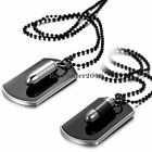 Army Military Bullet Black Dog Tag Pendant Necklace Ball Bead Chain Mens Womens