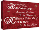 HEAVEN QUOTE - Life - Red Canvas Wall Art Picture Print- ALL SIZES