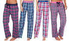 Ladies 100% Cotton Tartan Check Pyjamas Bottoms Pants Elasticated Navy Blue Pink
