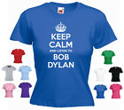 'Keep Calm and Listen to Bob Dylan' Ladies Girls Funny T-shirt