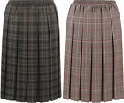 Plus Womens Check Tartan Print Stretch Elasticated Pleated Ladies Skirt 10-28