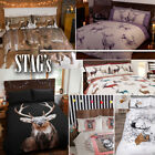 Highland Stag Check Duvet Quilt Cover Bedding Set + Pillowcases in 4 Colours