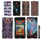 For Nokia Lumia 635 PATTERN HARD Protector Case Phone Cover Accessory + Pen