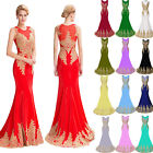 Womens APPLIQUE Long Evening Dresses Prom Party Bridesmaid Wedding Ball Gown Red