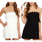 STON Womens Mini White Black Strapless Tee Dress Ladies Party Beach Casual Dress