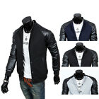 Men's PU Leather Coat Stand-Collar Long Sleeve Jacket Fit Baseball Outwear BD AU