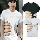 Fashion Men Womens Big Hand Printed Funny Catch Cotton Short Sleeve T-shirt LA