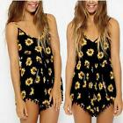Women Sexy Sunflower Print Floral Jumpsuit Rompers Pom-pom Tassel Balls Playsuit