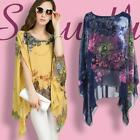 Womens Lady Batwing Sleeve Casual Chiffon Floral Print T-shirt Blouse Tops LA