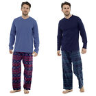 Mens Loungewear Check Brushed Cotton Pyjama Set Winter Warm Jersey Pjs