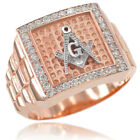 New Rose Gold Watchband Design Men's Masonic CZ Ring