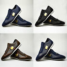 Mens Leather Suede Shoes Black Brown Navy Blue Trainers Smart UK 6 7 8 9 10 11
