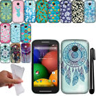 For Motorola Moto E TPU PATTERN SILICONE Rubber GEL Soft Case Phone Cover + Pen