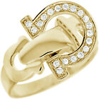 Sterling Silver Dangling Horseshoe Good Luck Lucky Omega Clear CZ Ring Size 3-11