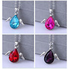 Angel Wings Women Crystal Rhinestone Silver Chain Pendant Necklace Jewelry Party