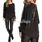 Women's Perspective Bat Long sleev Lace Stitching T-shirt Blouse Top S-XXL