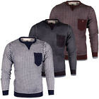 mens SoulStar Waffle Knit Chest Pocket Jumper Crew Neck Sweater Pullover Jersey
