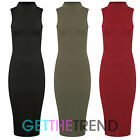 NEW WOMENS RIBBED TURTLE NECK DRESS LADIES SLEEVELESS RIB BODYCON DRESS