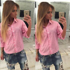 Women Casual Long Sleeve Loose Plaid Checked T shirt Tops Blouse Fashion Shirt