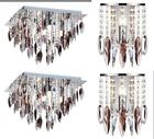 PAIR OF CHROME SQUARE FLUSH FITTING CHANDELIER CEILING LIGHT CRYSTAL STYLE DROPS