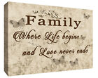 FAMILY QUOTE - Life - Brown Beige Tones Canvas Wall Art Picture Print- ALL SIZES