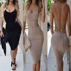 Ladies Sexy Sleeveless Backless Bandage Bodycon Slim Pencil Dress Cocktail Club