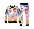 New Men's Basketball stars curry 3D print casual sweatshirt & pant sets suit