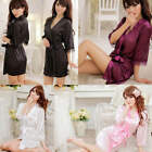 Women's Sexy Silk Satin Lace Gown Bath Robe Nightwear Lingerie Sleepwear Dress