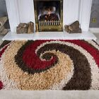 SMALL LARGE RUGS THICK SOFT SHAGGY RUG NON SHED 5cm PILE SWIRL RED BROWN RUGS