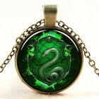 1x Retro Green Snake Pattern Pendant Necklace For Women Jewelry Chain Decor BD
