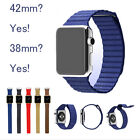 100% Genuine leather loop for apple watch/iwatch band With magnetic closure