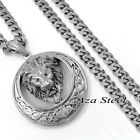 """MENs Large Heavy Celtic Lion Stainless Steel Pendant Curb Chain Necklace 18""""-36"""""""