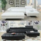 3 PC Black White Bonded Leather Tufted Sectional Sofa w/ X Long Cocktail Ottoman