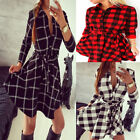 Women Lady Plaid Check Belt Skater Shirt Mini Dress 3/4 Sleeve Blouse Shirt Tops