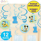 MICKEY OR MINNIE MOUSE 1ST BIRTHDAY PARTY SUPPLIES 12 SWIRL HANGING DECORATIONS