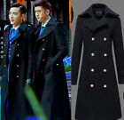 Men Military Double Breasted Wool Blend Long Trench Coat Jackets  Chic Cheap Hot