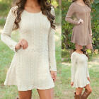 Womens Winter Long Sleeve Jumper Tops Knitted Sweater Bodycon Tunic Mini Dress