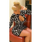Sexy Bodycon Leopard Printed Crew Neck Long Sleeve Short Dress for Women Lady