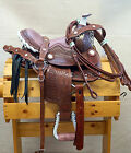 "10"" Medium Oil Tooled Leather Western Saddle Pink Seat w Leopard Accents"
