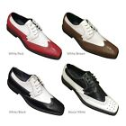 Mens Dress Shoes Two Tone Wing Tip Oxfords Style 5753 Synthetic Leather