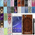 For Sony Xperia T2 Ultra D5303 D5306 PATTERN HARD Back Case Phone Cover + Pen