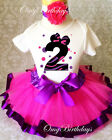 Minnie Mouse Dots Pink Purple Second 2nd Birthday Shirt Tutu Outfit Set girl