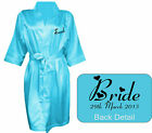 NEW Personalised TURQUOISE Bridal Satin Robe / Gown Wedding Bride Mum / Gift Bag