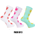 Weed Socks Marijuana Cannabis Leafs Leaves Unisex Adult fit 6-12 D11 Pack Of 3
