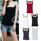 New Women Sequin Crochet Cotton Sleeveless Lace Tank Tops Vest T-shirts Blouses
