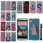 For HTC Desire 626 626S DIAMOND BLING CRYSTAL HARD Case Phone Cover + Pen