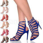 WOMENS LADIES HIGH HEEL STRAPPY LACE UP CUT OUT GHILLIE SANDALS SHOES SIZE