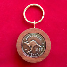 50th Birthday gift present 1966 Jarrah Penny Keyring other years available