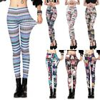 Women Punk Printed Stretchy Skinny Pencil Leggings Pants Jeggings